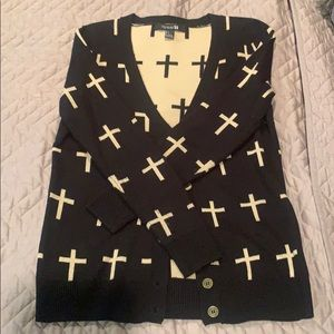 Cross print cardigan, size small from Forever21